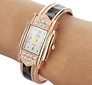 Women's Diamante Rectangle Dial Leopard Grain Band Quartz Analog Bracelet Watch