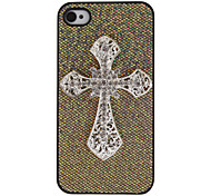 Fashion Gold Gleaming Powder Design with 3D Cross-Shaped Diamonds PC Hard Case for iPhone 4/4S