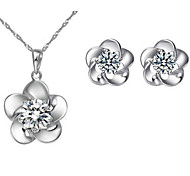 Flower Zircon Earrings & Necklace Jewelry Set