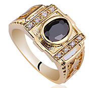 Carved Band Men Gold Finish 925 Sterling Silver Ring With 7X9Mm Oval Cubic Zirconia