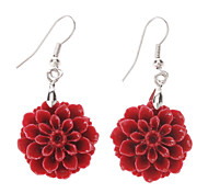 (1 Pc) Fashion (Daisy Drop) Silver Alloy Drop Earrings(Purple,Yellow,Red,Pink,Black)