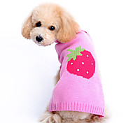 Dog Sweater Pink Winter Fruit