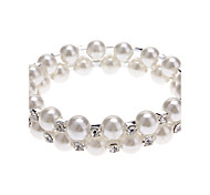 (1 pz) classiche Donne 6cm 2 strati Pearl Bracelet