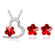 Fashion Silver-Plated (Includes Necklace & Earrings) Jewelry Set (Red,Green And More)