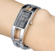 Women's Black Rectangle Dial Alloy Band Quartz Analog Bracelet Watch Cool Watches Unique Watches