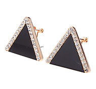 Korean-Imported Fluorescent Triangle Rhinestone Earrings