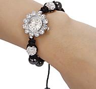 Diamante tournesol Motif de femmes de quartz de cadran de montre de bracelet analogique