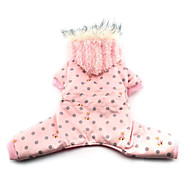 Dog Coat / Hoodie Pink Winter Polka Dots