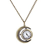 Women's Vintage Round Dial Crescent Pattern Quartz Analog Necklace Watch