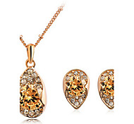 Golden Zircon Earrings & Necklace Jewelry Set