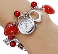 Vrouwen White Dial Pattern Red Heart Beads band kwarts armband horloge Analoog