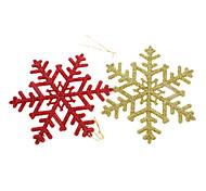 2pcs de Ouro & Red Glitter floco de neve da decoração do Natal
