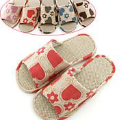 Casual Linen Printing Brown Men's Slide Slippers
