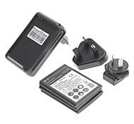 3 PC 2500mAh batería + Dock del cargador de la pared + 3 PC Adaptadores para Samsung Galaxy Note N7000/I9220