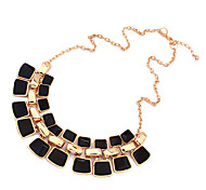 Double Row Square Statement Necklace