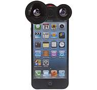 Four-in-one Rotatable 180 Degree Fish Lens, 0.4X Wide Angle and Macro Lens for iPhone 5/5S