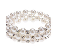Women's Wrap Bracelet Pearl Imitation Pearl Rhinestone Simulated Diamond Unique Design Fashion Jewelry White/Sliver Jewelry 1pc