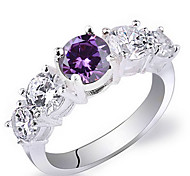 Women Real 925 Sterilng Silver Ring With Round Cut 5-Stone Zircon