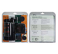4-in-1 Wallet grandangolare and Fish Eye e 2X Lens Telefono e 8X Camera Lens Zoom Kit con il treppiedi e caso per il iphone 4/4S
