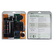 Kit de Gran Angular y Fish Eye y Lens Teléfono 2X y 8X Zoom Lens Cámara Monedero 4-en-1 con trípode y estuche para el iphone 4/4S