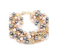 lureme®multi-strati perle chain bracelet