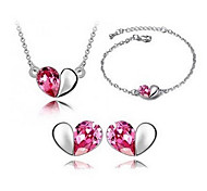 Fashion Silver-Plated (Includes Necklace & Earrings & Bracelet) Jewelry Set (Blue,Pink,Purple)