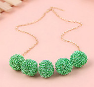 Candy colored balls short chain necklace new fashion women knitted necklace (random color)