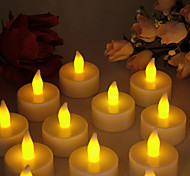 Warm Yellow Light Indoor LED Battery Operated Tea Lights (12 pcs)