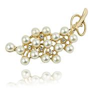 Fashion 5.5cm Frauen Golden Legierungs-Perlen-Brosche (Golden) (1 PC)