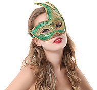 Green Flame Pattern Halloween Mask with Golden Edge