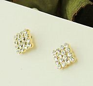 Square -Crystal -Studded Earrings Earrings Korean Version Of The Temperament Bohemian Diamond Ear Clip E652