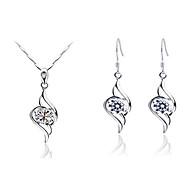 Angel Love Crystal Shape Necklace Earrings Jewelry Set
