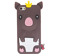Cartoon Style 3D Pig with Crown Pattern Silicone Soft Case for iPhone 5C (Assorted Colors)