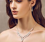 bella strass ceco in lega placcata di gioielli da sposa matrimonio, tra collana e orecchini