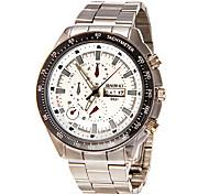 Men's Calendar Round Dial Steel Band Quartz Analog Wrist Watch