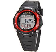 De los niños de múltiples funciones del dial redondo de la goma del reloj del LCD Digital (colores surtidos)