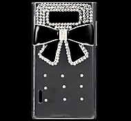 Fashion Rhinestones 3D Deluxe Black Bowknot Design Transparent Hard Back Case for LG L7