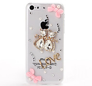 DIY 3D Crystal Cats Lover and Bow Pattern Plastic Hard Case for iPhone 5C