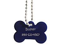 forma personalizada osso de presente azul do animal de estimação tag nome id com corrente para cães