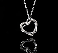 Sweet Heart Pendant Silver Plated Pendant Necklace (Silver) (1 Pc)