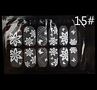 12PCS White Lace Transparent with Rhinestone Glitter Wedding Nail Stickers Flower&Butterfly