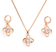 Moda Ouro Liga (colar e brincos) Conjuntos Gemstone (Gold)
