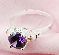Sweet Women's Purple Cubic Zirconia Band Rings(Purple)(1 Pc)(size 6#)