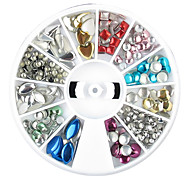 1PCS Wheel Colorful Mixed Shape Rivet Nail Decorations A