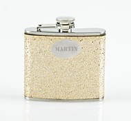 Personalized Gift Gold 5oz PU Leather Capital Letters Flask with Rhinestone