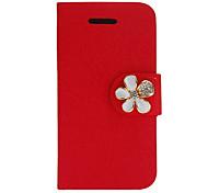 Silk Print PU Full Body Gehäuse mit Diamant-Taste und Card Slot für iPhone 4/4S (verschiedene Farben)