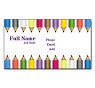 200pcs Personalized 2 Sides Printed Matte Film Pencil Pattern Business Card