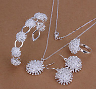 weet ilver Plated (Necklace & Ring & Earring & Cuff Bracelet) Jewelry et (ilver)