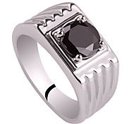 Classic Lines Design Men Solid Sterling Silver Ring With Zircon