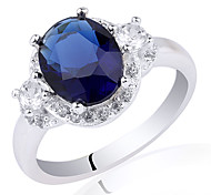 Women Classic Engagement Ring Sterling Silver Band With Egg-Shape Center Zircon